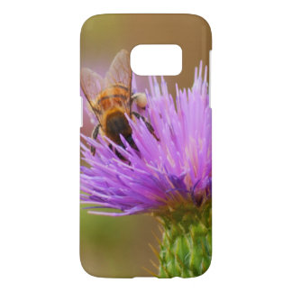 Busy Bee In Purple Thistle Close Up Photograph Samsung Galaxy S7 Case