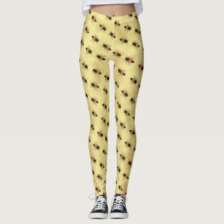 Busy Bee on Honey Comb Background Leggings