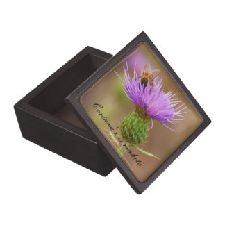 Busy Bee On Purple Thistle Photograph Premium Trinket Boxes
