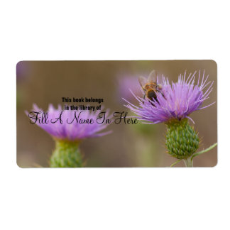 Busy Bee On Purple Thistle Photograph Shipping Label