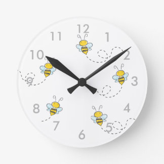 Busy Bee Round Clock