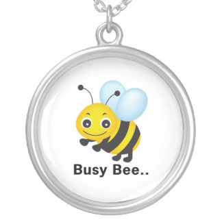 Busy bee silver plated necklace