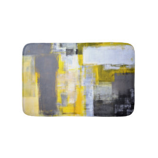 'Busy, Busy' Grey and Yellow Abstract Art Bathroom Mat