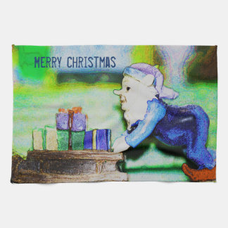 Busy Elf by Shirley Taylor Kitchen Towel