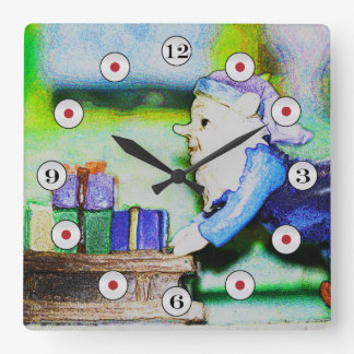 Busy Elf by Shirley Taylor Square Wall Clock