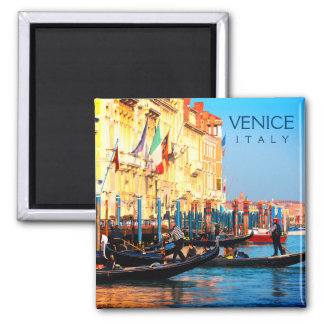 Busy Gondola Station In Venice, Italy Magnet