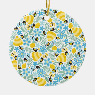 Busy Little Honeybees Ceramic Ornament