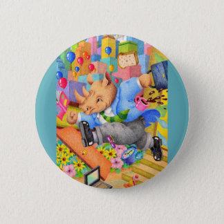 Busy rhinoceros 2 inch round button