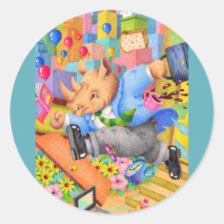 Busy rhinoceros classic round sticker
