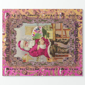 Busy Santa Victorian Large Wrapping Paper
