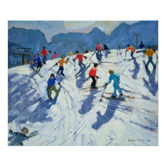 Busy Ski Slope Lofer 2004 Poster