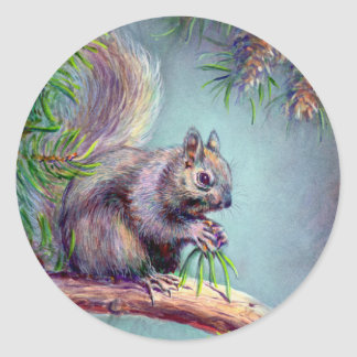 BUSY SQUIRREL by SHARON SHARPE Round Sticker
