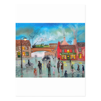 Busy street scene train Gordon Bruce art Postcard