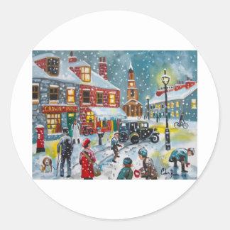 Busy street scene winter snow  Gordon Bruce art Classic Round Sticker
