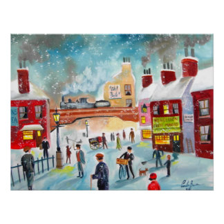 Busy street scene winter train oil painting art poster