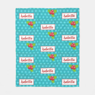 BusyBody Christmas Holiday with Holly Stars & Dots Fleece Blanket