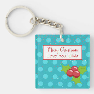 BusyBody Christmas Holiday with Holly Stars & Dots Keychain