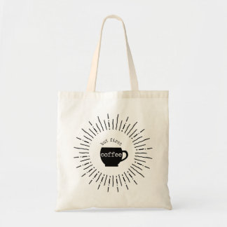 But First Coffee Retro Graphic Starburst Tote Bag
