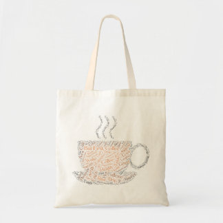 But first, coffee word art tote