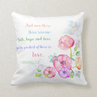 but the greatest of these is love christian bible throw pillow