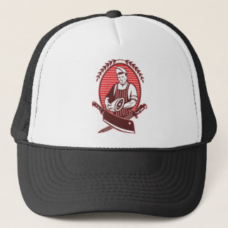 Butcher leg of meat knife and sharpening tool trucker hat
