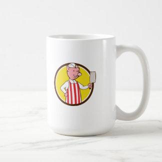 Butcher Pig Holding Meat Cleaver Circle Cartoon Coffee Mug