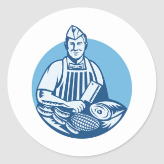 Butcher With Meat Cleaver Meat Cuts Retro Classic Round Sticker