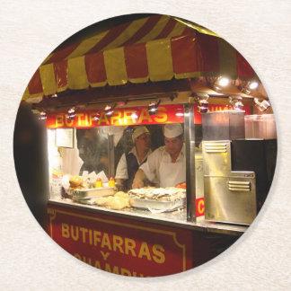 Butifarra Kiosk in a Park in Lima, Peru Round Paper Coaster