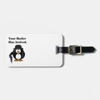 Butler Penguin Cute Cartoon with Umbrella Luggage Tag