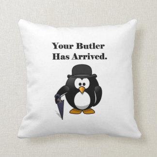 Butler Penguin Cute Cartoon with Umbrella Throw Pillow