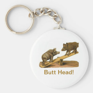 Butt Head Pigs Basic Round Button Keychain
