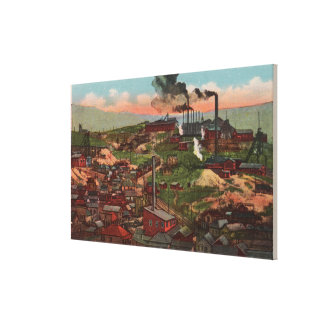 Butte, MT - View of Factories & Homes on Hill Stretched Canvas Print