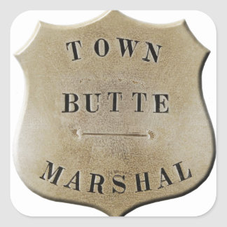 Butte Town Marshal Square Sticker