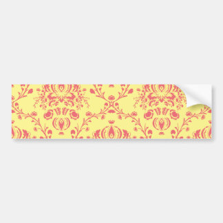Butter and Cranberry Damask Bumper Sticker