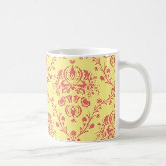 Butter and Cranberry Damask Coffee Mug