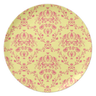 Butter and Cranberry Damask Dinner Plates