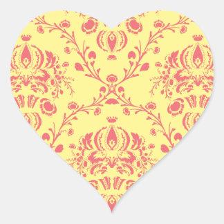 Butter and Cranberry Damask Heart Sticker