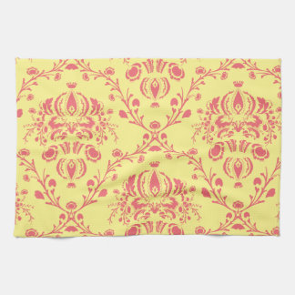 Butter and Cranberry Damask Kitchen Towel