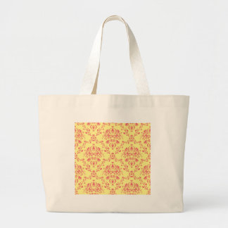 Butter and Cranberry Damask Large Tote Bag