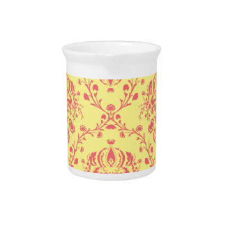 Butter and Cranberry Damask Pitcher