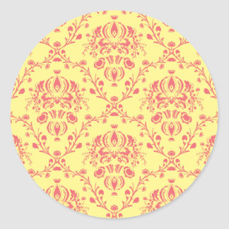 Butter and Cranberry Damask Round Sticker