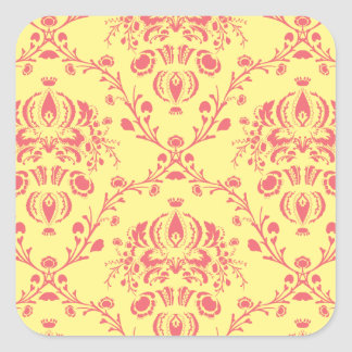 Butter and Cranberry Damask Square Sticker