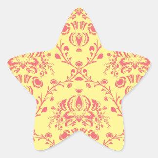 Butter and Cranberry Damask Star Sticker