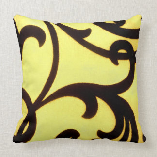 Butter cup Yellow scroll Throw pillow