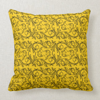 Butter cup Yellow scroll Throw pillow