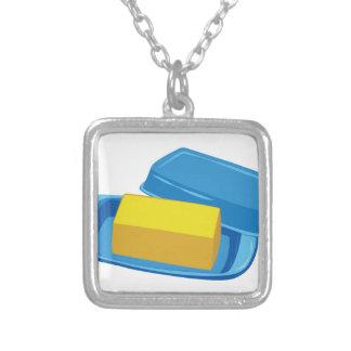 Butter Dish Silver Plated Necklace
