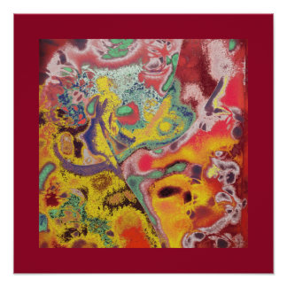 Butter Fry - Paisley Abstract in Reds Poster