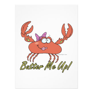 butter me up cute silly girl crab cartoon personalized announcement