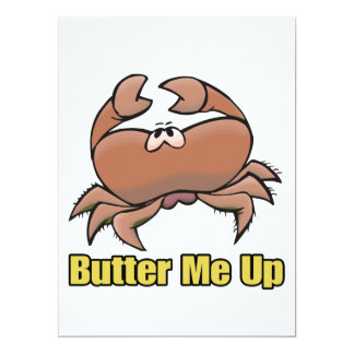 "butter me up silly sad crab cartoon 6.5"" x 8.75"" invitation card"