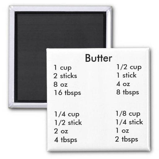 Butter measurements refrigerator magnet